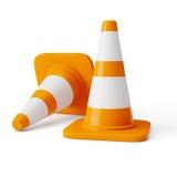 Orange highway traffic construction cones Stock Photos