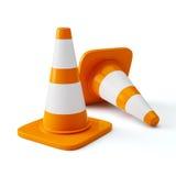 Orange highway traffic construction cones Stock Images