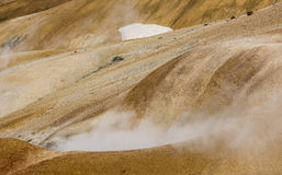 Orange Hills with Hot Steam in Kerlingarfjoll Stock Photography