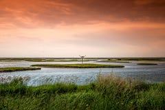Orange Himmel-Landschaft Lizenzfreie Stockbilder