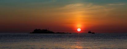Orange himmel Vietnam för soluppgång Fotografering för Bildbyråer