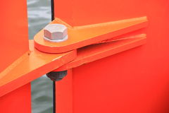 Orange hinge Stock Photography