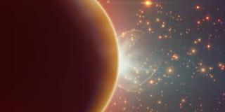 Orange Hintergrund des abstrakten Vektors mit Planeten und Eklipse seines Sternes vektor abbildung
