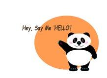 """Orange Hintergrund mit einem Panda, der seine Tatze wellenartig bewegt und """"Hell sagt Lizenzfreies Stockbild"""