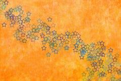 Orange Hintergrund mit Sternen stock abbildung