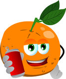Orange holding beer or soda can Royalty Free Stock Photos