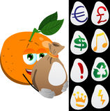 Orange holding a big sack with variable signs Royalty Free Stock Photo