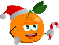 Orange holding a candy cane and wearing Santa's hat Stock Photo