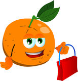 Orange holding an empty bag Stock Photo