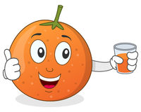 Orange Holding a Fresh Squeezed Juice Royalty Free Stock Image