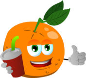 Orange holding soda and showing thumb up sign Royalty Free Stock Photography