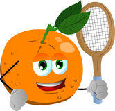 Orange holding a tennis rocket Stock Photography
