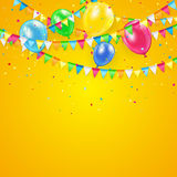 Orange Holiday background. With colorful balloons, pennants and confetti, illustration Stock Photos