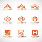 Orange home logo vector set art design Royalty Free Stock Photo