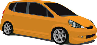 Orange Honda Fit. A Vector .eps illustration of a Honda Fit. Saved in layers for easy editing. See my portfolio for more automotive images royalty free illustration