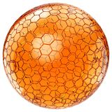 Orange honey ball with honeycomb pattern. Isolated on white background. 3D rendering Royalty Free Stock Photo
