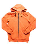 Orange hoodie som isoleras på vit Fotografering för Bildbyråer