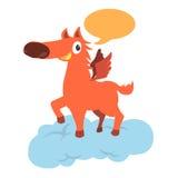 Orange horse with wing Stock Photo