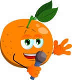 Orange hosting a show and talking into a microphone Royalty Free Stock Photo