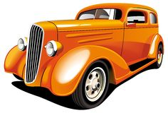 Orange Hot Rod. Vectorial image of old-fashioned orange hot rod, isolated on white background. Contains gradients and blends Royalty Free Stock Photo