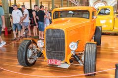 Orange hot rod car. At Victorian Hot Rod & Cool Rides Show in Melbourne, Australia Stock Image
