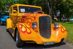 Orange hot rod car. At Victorian Hot Rod & Cool Rides Show in Melbourne, Australia Stock Photos