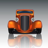 Orange Hot Rod. Front view of orange hot rod with reflection Royalty Free Stock Photos