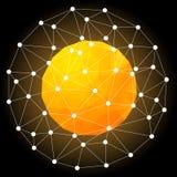 Orange Hot Star, Spherical Polygonal Design Stock Image