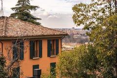 Orange house on Bologna hills Royalty Free Stock Photos