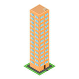 Orange house in the isometric. The front door. Green lawn. Stock Photography