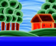 Orange House By The Lake Acrylic Painting Stock Photography
