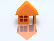 Orange house with reflection. 3d render. Royalty Free Stock Photo