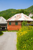 Orange house in a romanian village Royalty Free Stock Photography
