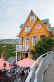 Orange House. VALPARAISO - NOVEMBER 07: Orange house in Concepcion districts of the protected UNESCO World Heritage Site of Valparaiso on November 7, 2015 in royalty free stock photography
