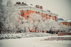 Orange house in winter day Stock Photography