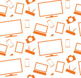 Orange household appliances and electronics tablet tv smartphone Stock Photography