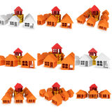Orange houses and red one. 3d render. Royalty Free Stock Photography