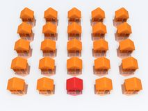 Orange houses and red with reflection. 3d render. Royalty Free Stock Photography