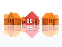 Orange houses and red with reflection. 3d render. Stock Photography