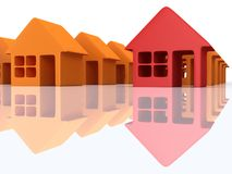 Orange houses and red with reflection. 3d render. Royalty Free Stock Photos