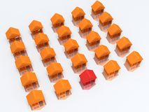 Orange houses and red with reflection. 3d render. Royalty Free Stock Image
