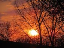 Orange-hued sunset at Flowing Springs Saskatchewan. Orange sunset at Flowing Springs - Spring Royalty Free Stock Photos