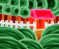Orange hus Forest Watermelon Painting Artwork Royaltyfria Foton