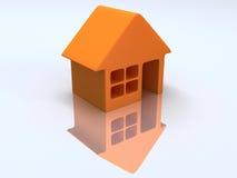 Orange hus med reflexion. 3d framför. Royaltyfria Bilder