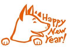 Orange husky dog with hand drawn sign - Happy New Year Royalty Free Stock Photos