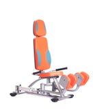 Orange hydraulic exerciser. Isolated on white Stock Images
