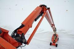 Orange hydraulic lift royalty free stock image