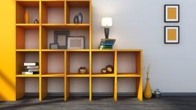 Orange hylla med vaser, böcker och lampan Royaltyfri Bild