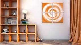 Orange hylla med vaser, böcker och lampan Arkivfoto