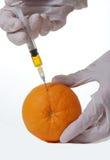 Orange with hypodermic needle Stock Photography